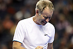USA's John McEnroe fist pumps after getting a point during the HSBC Tennis Cup series at First Niagara Center in Buffalo, NY on October 22, 2011