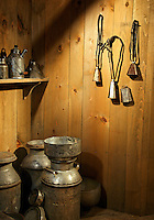 Display of milking equipment, Billings Farm & Museum, Woodstock, Vermont, US