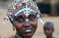 KENYA Marsabit, Samburu pastoral tribe, portrait of woman with traditional headgear / KENIA, Marsabit, Samburu Dorf Hargura, Portraet einer Samburu Frau mit traditionellem Kopfschmuck