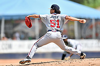 Rome Braves starting pitcher Odalvi Javier (51) delivers a pitch during a game against the Asheville Tourists at McCormick Field on September 3, 2018 in Asheville, North Carolina. The Tourists defeated the Braves 5-4. (Tony Farlow/Four Seam Images)