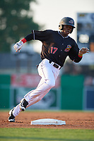 Batavia Muckdogs Dalvy Rosario (17) running the bases during a NY-Penn League game against the Lowell Spinners on July 10, 2019 at Dwyer Stadium in Batavia, New York.  Batavia defeated Lowell 8-6.  (Mike Janes/Four Seam Images)