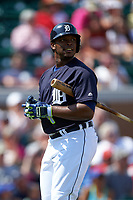 Detroit Tigers left fielder Justin Upton (8) walks back to the dugout after striking out during an exhibition game against the Florida Southern Moccasins on February 29, 2016 at Joker Marchant Stadium in Lakeland, Florida.  Detroit defeated Florida Southern 7-2.  (Mike Janes/Four Seam Images)