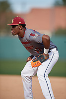 Brandon West during the Under Armour All-America Pre-Season Tournament, powered by Baseball Factory, on January 19, 2019 at Fitch Park in Mesa, Arizona.  Brandon West is an outfielder / first baseman from Hawaiian Gardens, California who attends Artesia High School.  (Mike Janes/Four Seam Images)