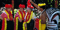 Three Senior women receiving lei greeting,  Oahu