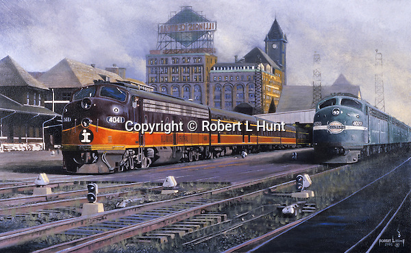 """Illinois Central and New York Central diesel passenger trains with F unit diesels sitting side by side at the Chicago railroad terminal circa 1960. Oil on canvas, 18"""" x 30""""."""
