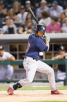 Reid Brignac (16) of the Lehigh Valley IronPigs turns away from an inside pitch during the game against the Charlotte Knights at BB&T Ballpark on May 8, 2014 in Charlotte, North Carolina.  The IronPigs defeated the Knights 8-6.  (Brian Westerholt/Four Seam Images)
