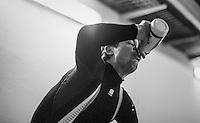 Due to the bad weather outside the planned long training ride was cut 1 hour short & Jasper Stuyven (BEL/Trek-Segafredo), John Degenkolb (DEU/Trek-Segafredo) & Kiel Reijnen (USA/Trek-Segafredo) decided to complete the planned hours of training on the rollers in the hotel basement<br /> <br /> Team Trek-Segafredo winter training camp <br /> <br /> january 2017, Mallorca/Spain