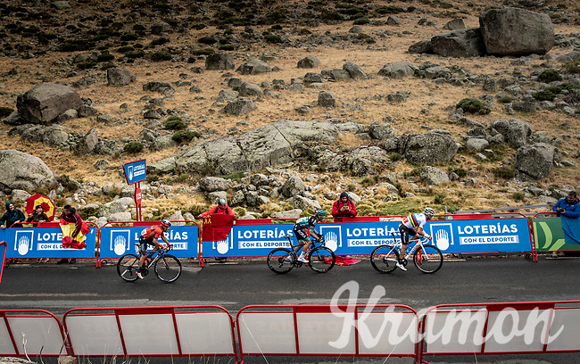 World Champion Alejandro Valverde (ESP/Movistar) was able to drop red jersey (overall leader) Primoz Roglic (SVK/Jumbo-Visma) with a few 100 meters to go at the finish. But not enough to pose any threat for the overall lead of Roglic.<br /> <br /> Stage 20: Arenas de San Pedro to Plataforma de Gredos (190km)<br /> La Vuelta 2019<br /> <br /> ©kramon