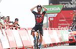 Damiano Caruso (ITA) Bahrain Victorious wins solo Stage 9 of La Vuelta d'Espana 2021, running 188km from Puerto Lumbreras to Alto de Velefique, Spain. 22nd August 2021.     <br /> Picture: Luis Angel Gomez/Photogomezsport   Cyclefile<br /> <br /> All photos usage must carry mandatory copyright credit (© Cyclefile   Luis Angel Gomez/Photogomezsport)
