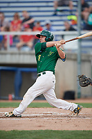 Beloit Snappers catcher Jordan Devencenzi (18) follows through on a swing during a game against the Dayton Dragons on July 22, 2018 at Pohlman Field in Beloit, Wisconsin.  Dayton defeated Beloit 2-1.  (Mike Janes/Four Seam Images)