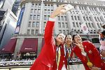 (L-R) Nozomi Okuhara, Misaki Matsutomo, Ayaka Takahashi (JPN), OCTOBER 7, 2016 : Japanese medalists of Rio 2016 Olympic and Paralympic Games wave to spectators during a parade from Ginza to Nihonbashi, Tokyo, Japan. (Photo by Yosuke Tanaka/AFLO)