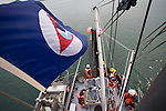 Puget Sound, marine research, Washington State, NOAA flag, National Marine Fisheries Service, NMFS, marine, research scientists trawl net to monitor diseases of fish in Puget Sound, Skagit Bay, aboard the research vessel Harold W. Streeter.