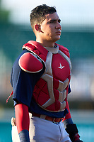 Palm Beach Cardinals catcher Luis Rodriguez (41) during a game against the Bradenton Marauders on May 28, 2021 at LECOM Park in Bradenton, Florida.  (Mike Janes/Four Seam Images)