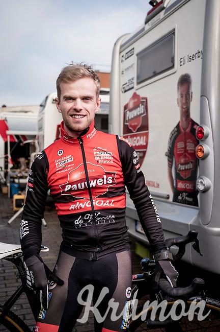 pre-race portrait of Eli Iserbyt (BEL/Pauwels Sauzen-Bingoal) at Azencross Loenhout 2019 (BEL)<br />  <br /> ©kramon