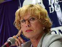 Montreal, 1999-08-27. The Swedish actress Bibi Andersson who preside the jury, was at a news conference on the first day of the 1999 World Film Festival in Montreal.<br /> First casted by Ingmar Bergman in a 1951 soap commercial, she quickly became one of his leading actesss, she also worked with many other movie directors such as Robert Altman and in theater and televisions dramatics classics.<br /> This year, the jury members are : Percy Adlon ; German director (Bagdad Cafe, Salmonberries, ...), Charlotte Laurier, Canadian actress, Mario Monicelli ;  Italian director, Pat O'Connors ;  Irish director and producer(Cal, Dancing at Lughnasa), Stephen Rea ;  Irish Actor (The Crying Game) and Fernando Solanas ;  Argentina director.<br /> Photo : (c) Pierre Roussel, 1999<br /> KEYWORDS :  Bibi Andersson, celebreties, cinema, World Film Festival, Montreal.