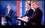 The First Television Election Debate Nick Clegg, David Cameron Gordon Brown . April 15th 2010. Manchester England