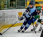 30 November 2018: University of Maine Black Bear Defender Ida Press, a Freshman from Uppsala, Sweden, in first period action against the University of Vermont Catamounts at Gutterson Fieldhouse in Burlington, Vermont. The Lady Bears defeated the Lady Cats 2-1 in the first game of their 2-game Hockey East series. Mandatory Credit: Ed Wolfstein Photo *** RAW (NEF) Image File Available ***