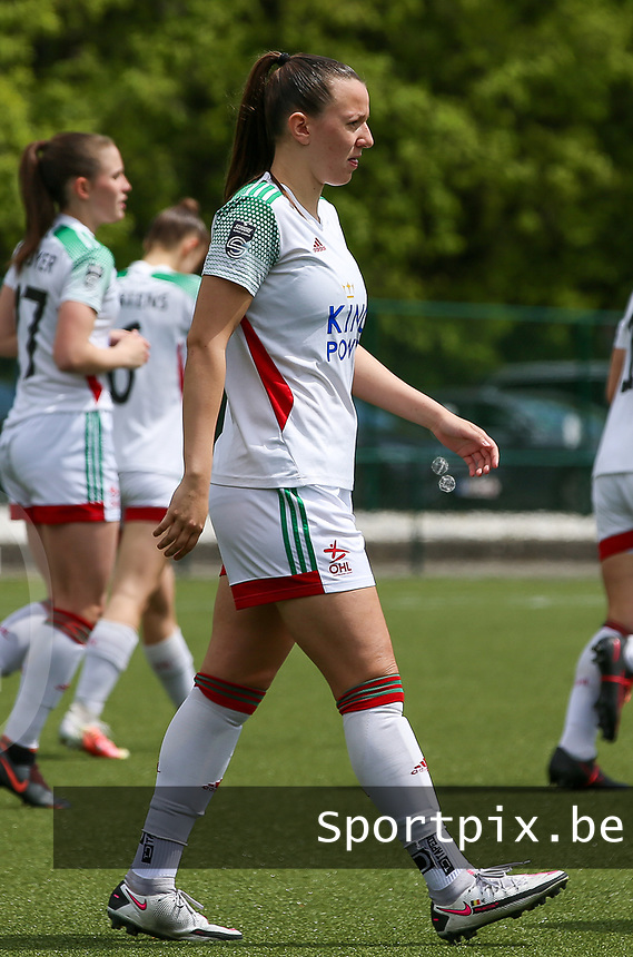 Hannah Eurlings (9) of OHL at the start of a female soccer game between Oud Heverlee Leuven and AA Gent Ladies on the 9 th matchday of play off 1 in the 2020 - 2021 season of Belgian Womens Super League , saturday 22 nd of May 2021  in Heverlee , Belgium . PHOTO SPORTPIX.BE | SPP | SEVIL OKTEM