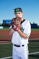 Hillsboro Hops pitcher Matt Mercer (43) poses for a photo before a Northwest League game against the Salem-Keizer Volcanoes at Ron Tonkin Field on September 1, 2018 in Hillsboro, Oregon. The Salem-Keizer Volcanoes defeated the Hillsboro Hops by a score of 3-1. (Zachary Lucy/Four Seam Images)