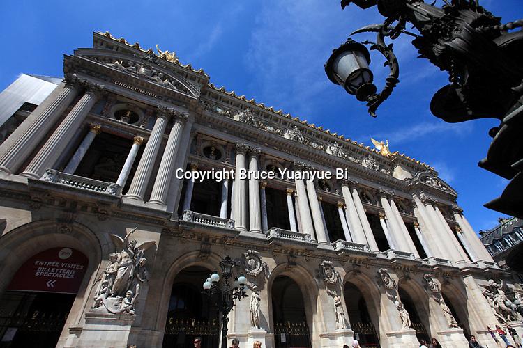 The exterior view of Opera Garnier. Palais Garnier. City of Paris. Paris