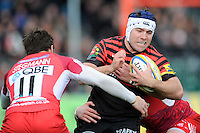 20130303 Copyright onEdition 2013©.Free for editorial use image, please credit: onEdition..Schalk Brits of Saracens is tackled by Seb Stegmann (left) and Greg Bateman  of London Welsh during the Premiership Rugby match between Saracens and London Welsh at Allianz Park on Sunday 3rd March 2013 (Photo by Rob Munro)..For press contacts contact: Sam Feasey at brandRapport on M: +44 (0)7717 757114 E: SFeasey@brand-rapport.com..If you require a higher resolution image or you have any other onEdition photographic enquiries, please contact onEdition on 0845 900 2 900 or email info@onEdition.com.This image is copyright onEdition 2013©..This image has been supplied by onEdition and must be credited onEdition. The author is asserting his full Moral rights in relation to the publication of this image. Rights for onward transmission of any image or file is not granted or implied. Changing or deleting Copyright information is illegal as specified in the Copyright, Design and Patents Act 1988. If you are in any way unsure of your right to publish this image please contact onEdition on 0845 900 2 900 or email info@onEdition.com