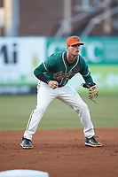 Greensboro Grasshoppers third baseman Micah Brown (10) on defense against the Augusta GreenJackets at First National Bank Field on April 10, 2018 in Greensboro, North Carolina.  The GreenJackets defeated the Grasshoppers 5-0.  (Brian Westerholt/Four Seam Images)