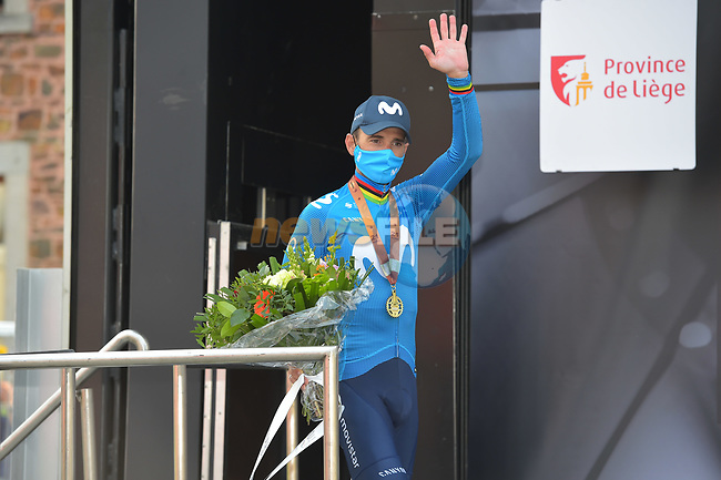 Alejandro Valverde (ESP) Movistar Team finishes on the podium in 3rd place at the end of the 2021 Flèche-Wallonne, running 193.6km from Charleroi to Huy, Belgium. 21st April 221.  <br /> Picture: Serge Waldbillig | Cyclefile<br /> <br /> All photos usage must carry mandatory copyright credit (© Cyclefile | Serge Waldbillig)
