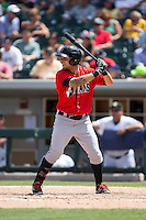 Danny Ortiz (3) of the Indianapolis Indians at bat against the Charlotte Knights at BB&T BallPark on June 19, 2016 in Charlotte, North Carolina.  The Indians defeated the Knights 6-3.  (Brian Westerholt/Four Seam Images)