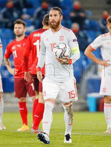 14th November 2020; St.Jakob Park, Basel, Switzerland; Nations League International Football, Switzerland versus Spain;  Spains Sergio Ramwalks forward to take a penalty kick, which he misses