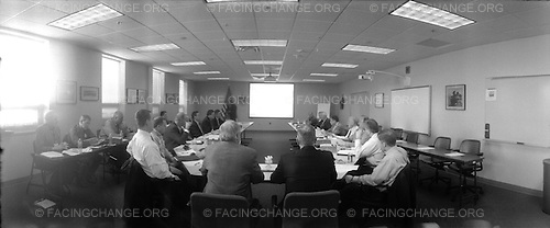Lima, Ohio.January 2012..Meeting of Task Force Lima including Mayor David Berger (Dem.), Rep. Jim Jordan (Rep.), plant manager Keith Deters, union representatives, and other local leaders, at the Joint Systems Manufacturing Center plant. Task Force LIMA formed in 2003 to keep the plant off a military base closing list and reformed in 2010 to address the Marine Corps' cancellation of the Expeditionary Fighting Vehicle and possible shutdown of Abrams tank production. Their discussed tasks include lobbying efforts in Washington and issuing promotional materials.