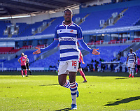 5th April 2021; Madejski Stadium, Reading, Berkshire, England; English Football League Championship Football, Reading versus Derby County;  Lucas Joao of Reading celebrates on scoring in 84th minute for 3-1