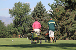 Caucasian and African American men playing golf, City Park Golf Course, Denver, Colorado, USA
