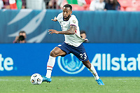 DENVER, CO - JUNE 6: Kellyn Acosta #23 of the United States moves with the ball during a game between Mexico and USMNT at Mile High on June 6, 2021 in Denver, Colorado.