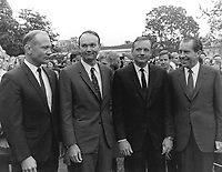 Washington (DC) USA - May 11, 1969 -<br /> President Nixon meets the Apollo 11 astronauts, Neil A. Armstrong, Edwin E. Aldrin,Jr., and Michael Collins, on the lawn of the White House on their return from their Global Goodwill Tour. The GIANTSTEP-APOLLO 11 Presidential Goodwill Tour emphasized the willingness of the United States to share its space knowledge. The tour carried the Apollo 11 astronauts and their wives to 24 countries and 27 cities in 45 days.