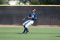 San Diego Padres right fielder Cristian Heredia (44) prepares to catch a fly ball during an Instructional League game against the Milwaukee Brewers at Peoria Sports Complex on September 21, 2018 in Peoria, Arizona. (Zachary Lucy/Four Seam Images)