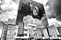Victims and relatives of Rana Plaza workers stage a rally in front of the BGMEA building, Kawran Bazar, Dhaka, Bangladesh