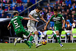 Alvaro Morata of Real Madrid battles for the ball with Martin Mantovani and Unai Bustinza of Deportivo Leganes during their La Liga match between Real Madrid and Deportivo Leganes at the Estadio Santiago Bernabéu on 06 November 2016 in Madrid, Spain. Photo by Diego Gonzalez Souto / Power Sport Images