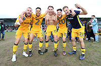 Dan Butler of Newport County, Jazzi Barnum-Bobb of Newport County, Sid Nelson of Newport County, Tom Owen-Evans of Newport County and Mickey Demetriou of Newport County celebrate during a lap of honour after the final whistle of the Sky Bet League Two match between Newport County and Notts County at Rodney Parade, Newport, Wales, UK. Saturday 06 May 2017