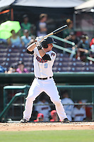 Stephen McGee (9) of the Inland Empire 66ers bats during a game against the Lake Elsinore Storm at San Manuel Stadium on May 27, 2015 in San Bernardino, California. Lake Elsinore defeated Inland Empire, 12-9. (Larry Goren/Four Seam Images)