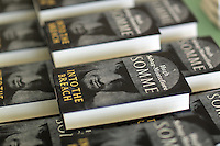 Hay on Wye. Friday 03 June 2016<br /> Copies of 'Somme' a book written by Hugh Sebag Montefiore at the Hay Festival, Hay on Wye, Wales, UK