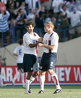 Jonathan Bornstein and Frank Simek celebrate as the USA defeated China, 4-1, at Spartan Stadium in San Jose, Calif., on June 2, 2007.