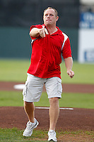 Buffalo Sabres legend Rob Ray throws out the first pitch before a Batavia Muckdogs game against the Auburn Doubledays at Dwyer Stadium on August 27, 2011 in Batavia, New York.  Batavia defeated Auburn 7-5.  (Mike Janes/Four Seam Images)