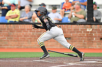 Bristol Pirates shortstop Luis Perez (13) runs to first base during a game against the Johnson City Cardinals at TVA Credit Union Ballpark on June 23, 2017 in Johnson City, Tennessee. The Pirates defeated the Cardinals 4-3. (Tony Farlow/Four Seam Images)