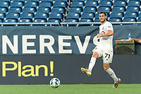 FOXBOROUGH, MA - JULY 9: Enric Bernat #71 of Toronto FC II passes the ball during a game between Toronto FC II and New England Revolution II at Gillette Stadium on July 9, 2021 in Foxborough, Massachusetts.