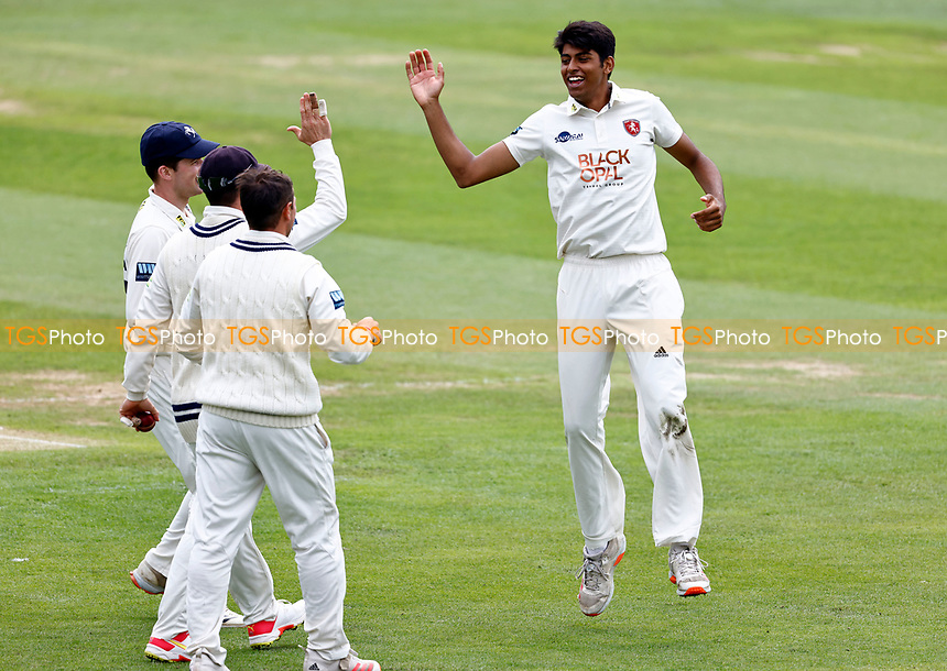 Jas Singh (R) making his debut for Kent celebrates taking the wicket of Tom Haines during Kent CCC vs Sussex CCC, LV Insurance County Championship Group 3 Cricket at The Spitfire Ground on 11th July 2021