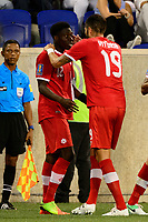 Harrison, NJ - Friday July 07, 2017: Alphonso Davies, Steven Vitoria during a 2017 CONCACAF Gold Cup Group A match between the men's national teams of French Guiana (GUF) and Canada (CAN) at Red Bull Arena.