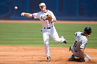 Shortstop Barry Butera #16 of the Boston College Eagles throws to first base to complete a double play at Durham Bulls Athletic Park May 21, 2009 in Durham, North Carolina.  (Photo by Brian Westerholt / Four Seam Images)