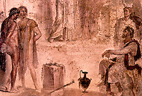 Roman Art:  Fresco--Orestes, ...Aegistus and Clytemnestra.  National Museum, Naples.
