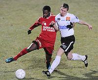 KSV Roeselare - KV Kortrijk..Ebrahima Ibou Sawaneh (links) in duel met Jeremy Huyghebaert (rechts)..foto VDB / BART VANDENBROUCKE