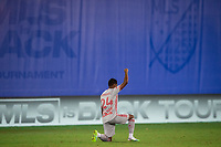 LAKE BUENA VISTA, FL - JULY 16: Jason Pendant #24 of the New York Red Bulls before the game during a game between New York Red Bulls and Columbus Crew at Wide World of Sports on July 16, 2020 in Lake Buena Vista, Florida.